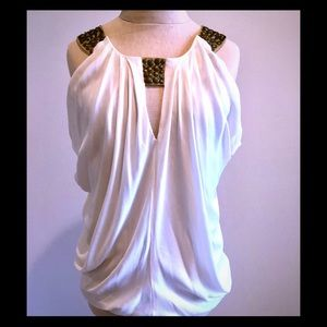 Cache Sleeveless Blouse, Gold Accents XS